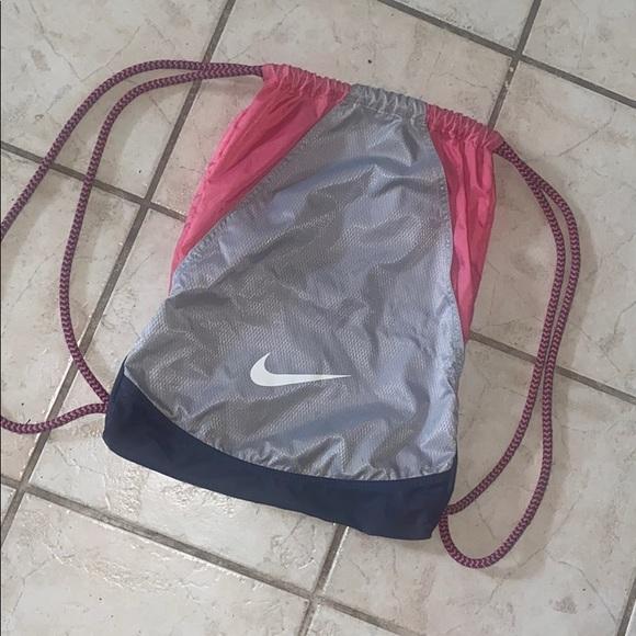 Pink Nike drawstring bag